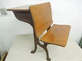 Antique School Desk w/ seat that folds up