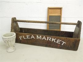 Old Tool Box, Old washboard, cement flower pot