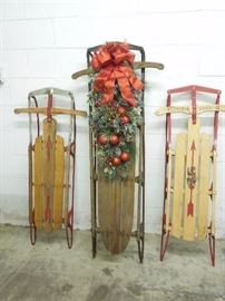 Sleds, both decorated and plain