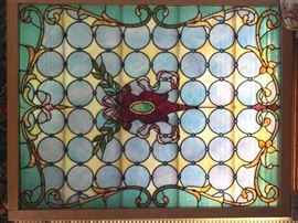 Gorgeous HUGE antique stained glass window