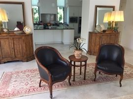 Pr. Carved Leather and Wood Occasional Chairs