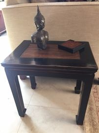 Asian Side Table wit Bamboo Top ~ Thai Buddha Statue 18th c.