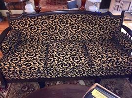 Nice vintage wooden framed sofa , cut velvet fabric