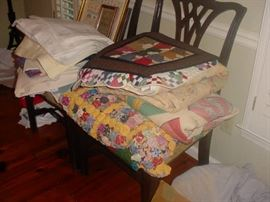 Just a few of the MANY beautiful hand sewn quilts, and other fantastic linens