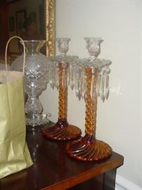 Beautiful crystal vintage candle holders