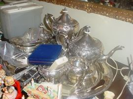 Sterling silver tea and coffee service set with tray
