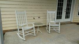 Two Nice White Porch Rockers and Glass insert table