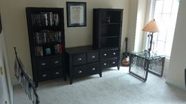Beautiful Black Office Bookshelves and Stand with Drawers. Handmade Golf Glass top table Silvertone Guitar Model# 319