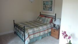 Cast Iron Queen Size Bed with Box Spring, Mattress& Bedding