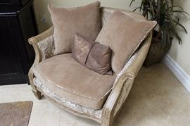 One of two matching plush and wood framed chairs, Flair by Bernhardt.