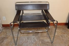 """Knoll """"Wassily"""", brown leather straps chrome chair, front view."""