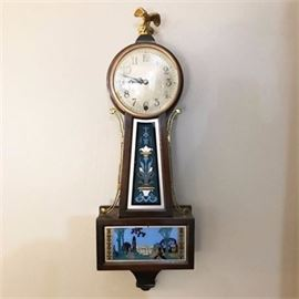 Antique New Haven Clock Company Whitney Banjo Wall Clock