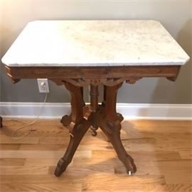 Antique Marble Top Parlor Side Table on Casters