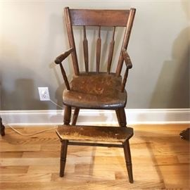Antique Childs High Dining Arm Chair