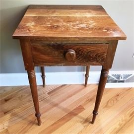 Antique Pine Side Table with Drawer