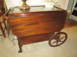 Tea cart with removable glass tray top