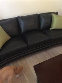 Gorgeous Bradington Young leather sofa in new condition