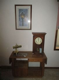 TABLE, CLOCK AND ART WORK