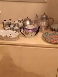 Some of the decorative serving items and plates available