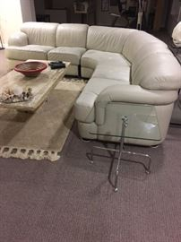 All leather contemporary 3 piece leather sectional.  No tears and in nice condition
