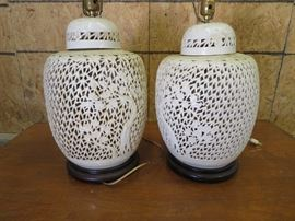 Vintage Asian Style Porcelain Lamps