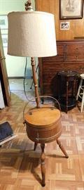 Oak Bucket Sewing Bin and Lamp