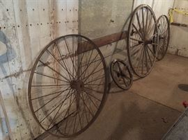 Wagon wheels- some metal and some wooden