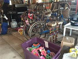 bikes- all sizes, croquet set, gas grills,