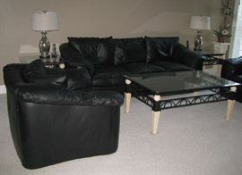 Leathercraft chair, sofa, glass top coffee table