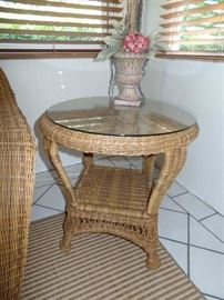 1 of 2 Like new glass top wicker side tables