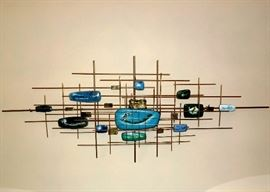 "Mid Century Modern, brutalist, copper and enamel wall art.  Can be hung vertically or horizontally. Measures 49"" x 19""."