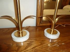 "Pair of Mid Century Modern lamps by Paul Hanson, New York City.  Sleek brass bases, with two leaves, set on marble.  Cool hard vinyl shades.  29"" tall."