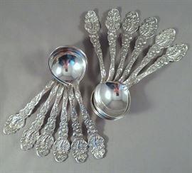 "Stunning set of (12) Gorham ""Versailles"" Sterling Silver Bouillon Spoons"