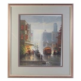 """Limited Edition Offset Lithograph After G. Harvey """"City by the Bay"""": A limited edition offset lithograph after G. Harvey titled City by the Bay – San Francisco. The work depicts a city scene in San Francisco with the Bay Bridge seen in the distance. The piece is numbered 706 out of 1250 and comes with a Certificate of Authenticity."""