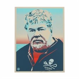 "Shepard Fairey Limited Edition Serigraph ""Captain Paul Watson"": A limited edition serigraph by well-listed and world-renowned American street artist Shepard Fairey (South Carolina/California; born 1970), titled Captain Paul Watson. This piece was originally created to support Sea Shepherd Conservation Society. This print is a posterized depiction of Paul Watson head of Sea Shepherd Conservation Society. He wears a black garment with the Sea Shepherd logo against a background that resembles water. This piece is numbered 250 out of an edition of 450. The work is title by hand and signed by hand to the lower print margin. Fairey's iconic ""Obey"" logo is printed to the lower left corner. This work is presented unmounted and unframed."
