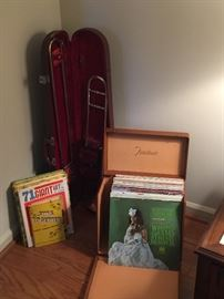 Antique trombone and sorted album sets