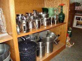 Restaurant quality stainless steel prep, bakeware, and serving pieces; enameled stock pot