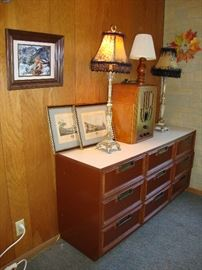 70s dresser with formica top and asian motifs, buffet lamps, antique radio