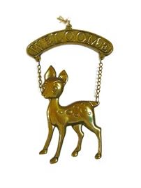 Brass welcome fawn wall decor