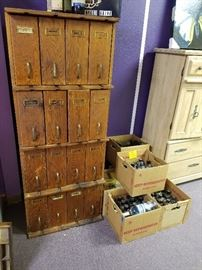 Hard-to-find pharmacy / apothecary cabinet plus vintage medicine bottles!!!