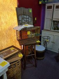 Vintage stools, baskets, crates, and barrels!!!