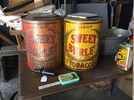 Tobacco tins light and dark with attached lids