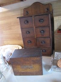 Eight drawer spice cabinet with an antique Shaw Walker recipe box...