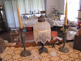 Great little lamp with a pair of Barbour Repousse figural candle sticks
