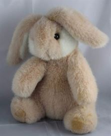 "Peachie (rabbit) - 281. 10"" H Gund teddy in plush  peach/white.  White plush inside ears, on tail and  cheeks. Condition:  fair"