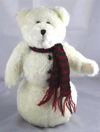 "Astrid Snowberry-132. Boyds-QVC in chenille-white.  Standing at 10"" H in excellent condition. Jtd.  head and arms. Poly filled body. Wears a handknit  striped scarf."