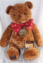 "Wish Vear (1952) - 100th Anniversary -1003. 2002  Gund  Christmas bear in plush cinnamon brown.  Stands 18"" H in excellent condition. Celebrating  the 100th anniversary of the Teddy bear. This  exclusive limited edition was used for donations"