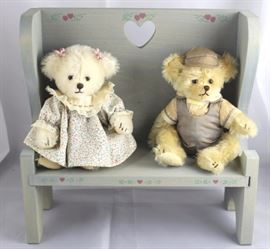 "Twins-83. Joanne Mitchell-Family Tree Be. In  Mohair-white & light beige in excellent  conditions. These bears sit on a wooden blue  bench.  Clothing is faded. Size:  7"" (bears)  10"" x 10"" (bench)"