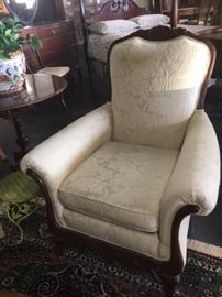 Beautiful White Upholstered Antique Chair