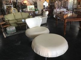 Mid-Century Modern, White Leather, MINT CONDITION, Swivel Chair & Ottoman